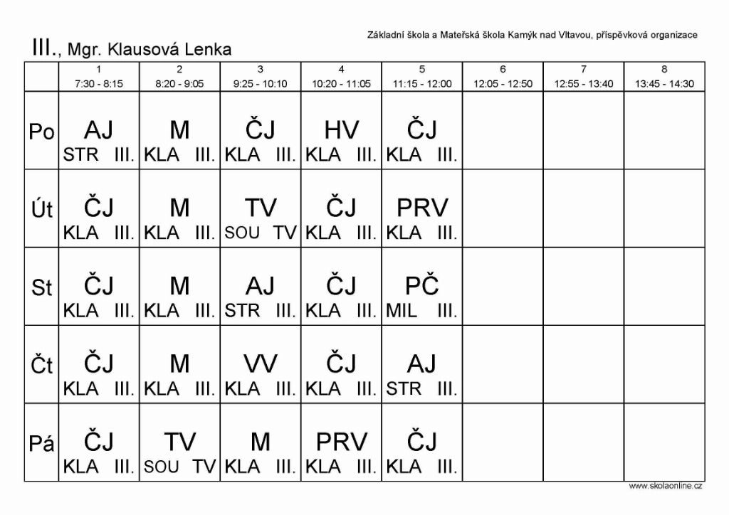 III., Mgr. Klausová Lenka